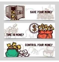 Time management financial banners set doodle vector