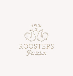 twin roosters abstract sign symbol or logo vector image