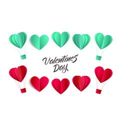 valentines origami heart symbols set vector image