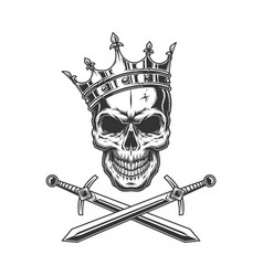 vintage prince skull in crown vector image
