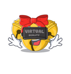 Virtual reality jingle bell in character shape vector
