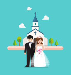 wedding ceremony at church vector image