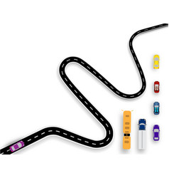 winding road with white markings auto set buses vector image