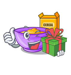 With gift cereal box in the shape mascot vector