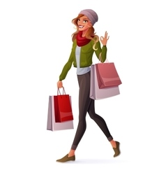 young woman walking with shopping bags and vector image vector image