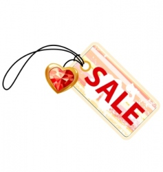sale label with gold heart vector image vector image