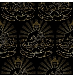 Seamless Pattern of Gold Buddha and Lotus vector image vector image