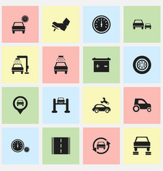 Set of 16 editable car icons includes symbols vector