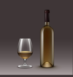 set of bottles and glasses on background vector image