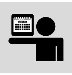silhouette man icon calendar social network vector image