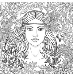 girl among the corals coloring page vector image vector image
