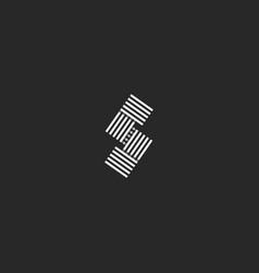 letter s logo monogram parallel black and white vector image vector image