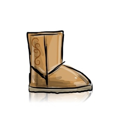 Winter boots ugg sketch for your design vector image vector image