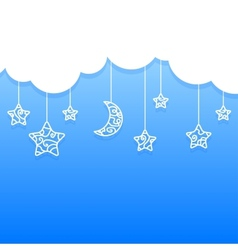 Blue Background with Clouds Moon Stars vector image