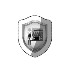 Sticker shield with builder with helmet and house vector