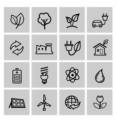 black eco energy icons set vector image vector image