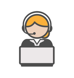 call center agent icon with blond hair and a vector image vector image