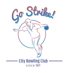 colorful bowling club emblem vector image vector image