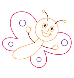coloring page of cartoon butterfly vector image