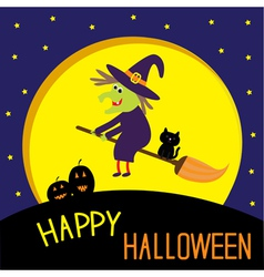 Flying cartoon witch and cat big moon halloween vector