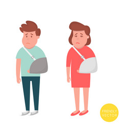 people with broken arm injured man and woman with vector image vector image