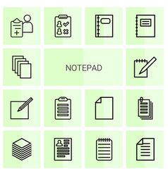 14 notepad icons vector image