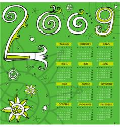 2009 curly calendar starts Monday vector image