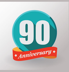 90 anniversary label with ribbon vector