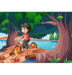 A boy passing the bridge with a bike vector