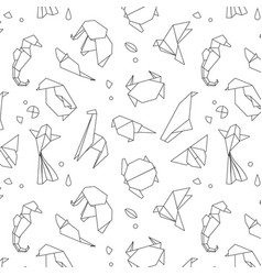 Animals origami pattern lines vector