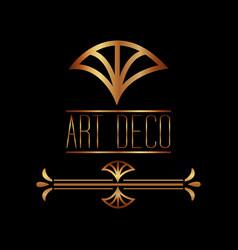 art deco golden border cover frame style vector image