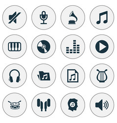 Audio icons set collection of octave equalizer vector