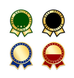 award ribbons isolated set gold design medal vector image