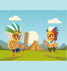 Aztec warriors in headgear shield and pyramid vector