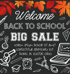 Back to school autumn sale poster vector