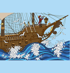 Background with old sailing ship vector