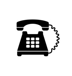 Black retro telephone icon vector