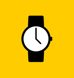 black watch icon with white display on yellow vector image