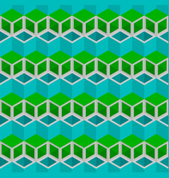 Blue and green cubes pattern seamless background vector