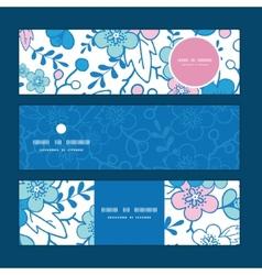 blue and pink kimono blossoms horizontal vector image