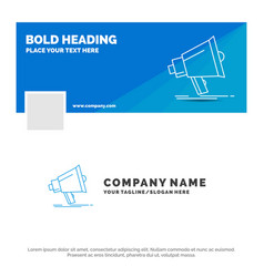 Blue business logo template for bullhorn digital vector