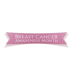 Breast Cancer Awareness Month pink satin Ribbon vector