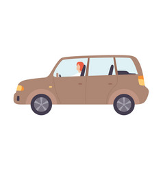 Brown hatchback car with male driver front view vector