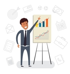 Businessman with presentation Growing chart Flat vector image