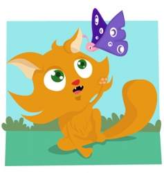 cat playing with butterfly vector image