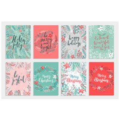 christmas calligraphic card set - hand drawn vector image