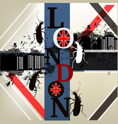 city background with london word and beetles vector image