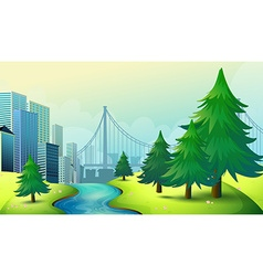 City buildings view with nature vector