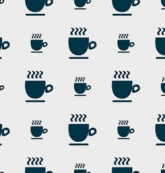 Coffee cup sign Seamless pattern with geometric vector image