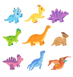 collection of cute colorful dinosaurs funny baby vector image